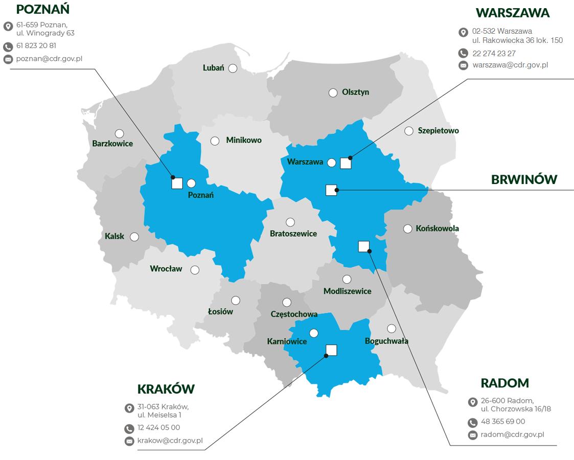 mapa Jednostki organizacyjne